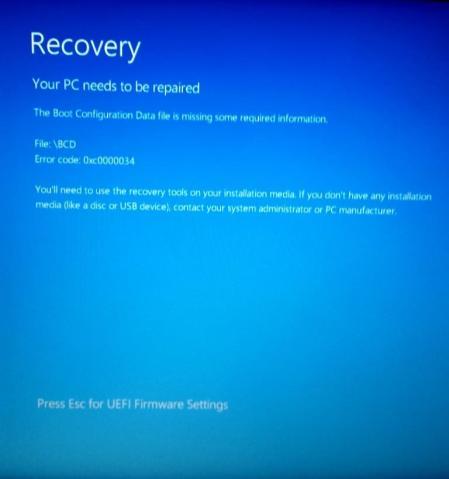 Blue error screen
