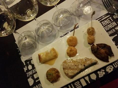 Hugel wines and appetizers at Planet Grapes