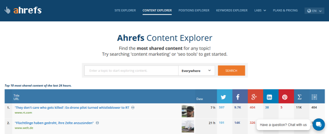 Ahrefs Content Explorer - Content creation tools
