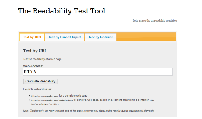 The Readability Test Tool - Content creation tools