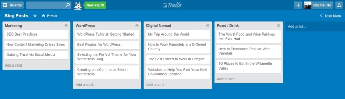 This is a Trello board where I can collect upcoming blog post ideas